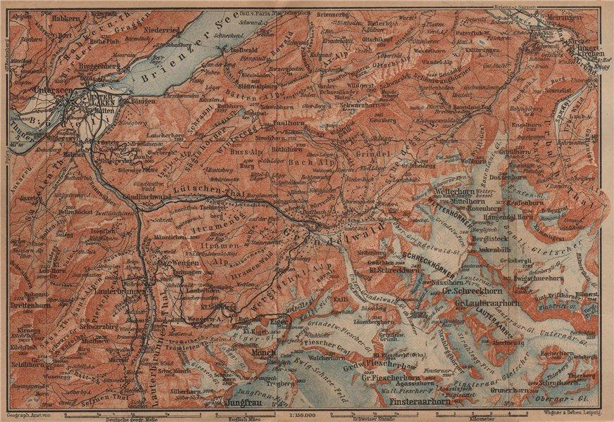 GRINDELWALD environs. Wengen Mürren Jungfrau Wetterhorn Interlaken 1909 map