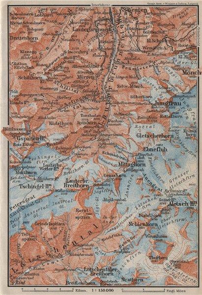 Associate Product UPPER LAUTERBRUNNEN VALLEY/WALL. Mürren Grosshorn Breithorn Jungfrau 1909 map