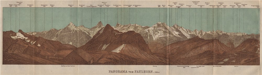 Associate Product PANORAMA from/vom FAULHORN. Berner Oberland. Bernese Oberland 1909 old map