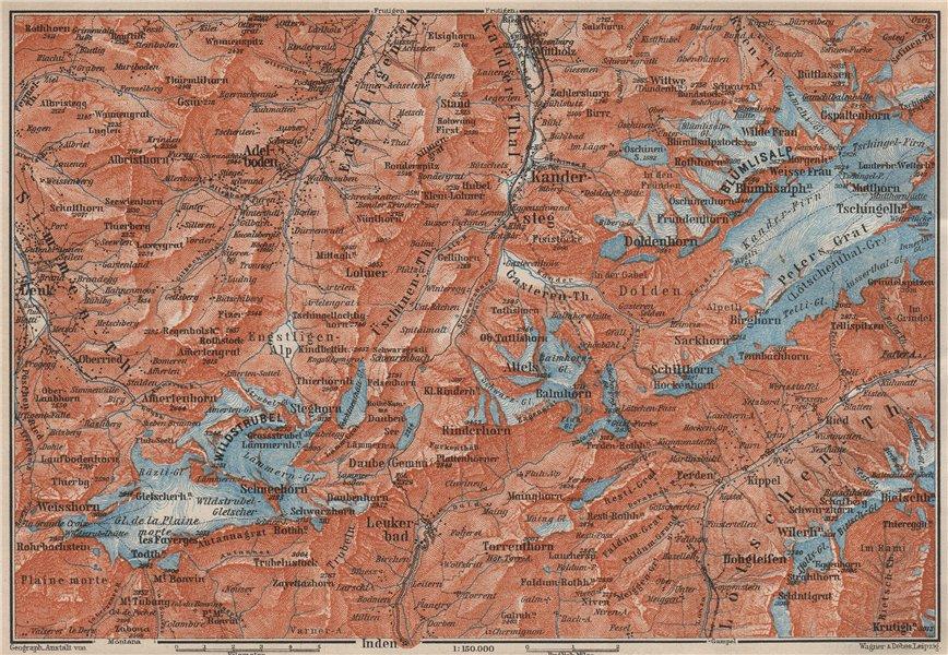 Associate Product KANDERSTEG area.Blumisalp Adelboden Wildstrubel Rinderhorn Torrenthorn 1909 map