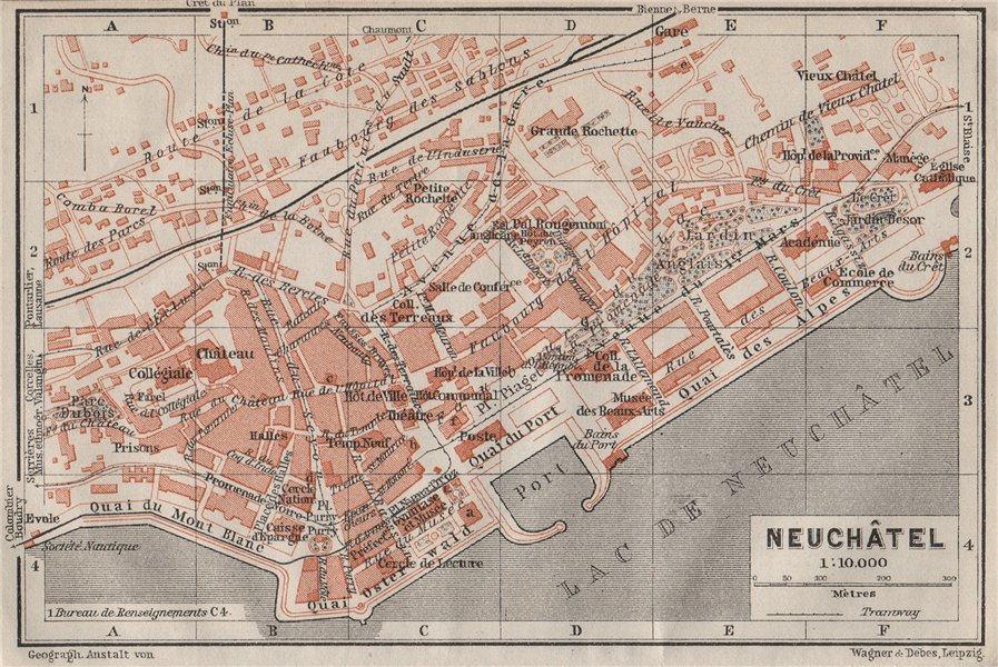 NEUCHÂTEL / NEUENBURG. town city plan. Switzerland Suisse Schweiz 1909 old map