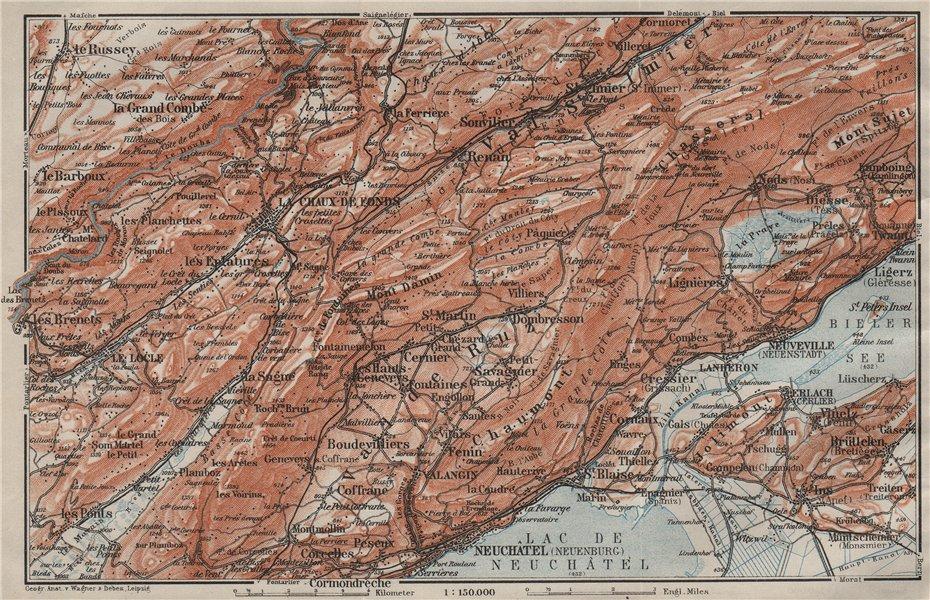 Associate Product NORTH WEST JURA. Neuchâtel La Chaux de Fonds Neuveville. Topo-map 1909 old