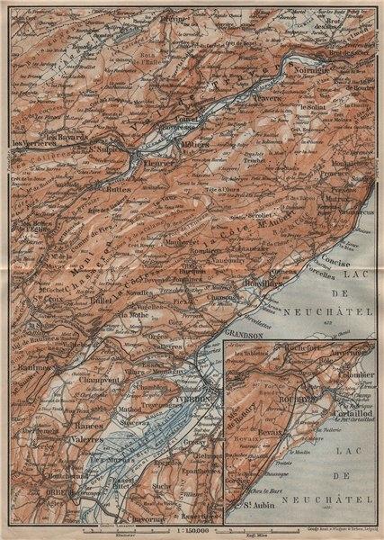 Associate Product JURA. Val-de-Travers Orbe Noiraigue Yverdon Grandson Môtiers Buttes 1909 map