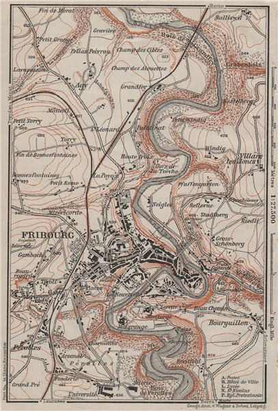 Associate Product FRIBOURG / FREIBURG ENVIRONS. Switzerland Suisse Schweiz carte karte 1909 map