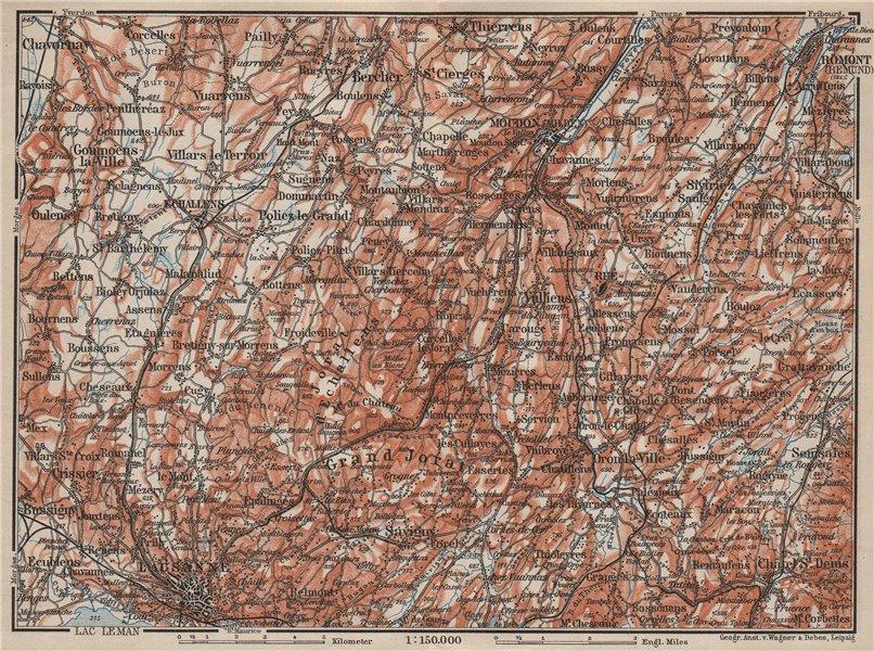 Associate Product PAYS DE VAUD North. Lausanne Moudon Romont Jorat Moudon Echallens 1909 old map