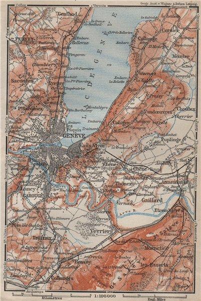 GENEVA GENÈVE GENF ENVIRONS. Switzerland Suisse Schweiz carte karte 1909 map