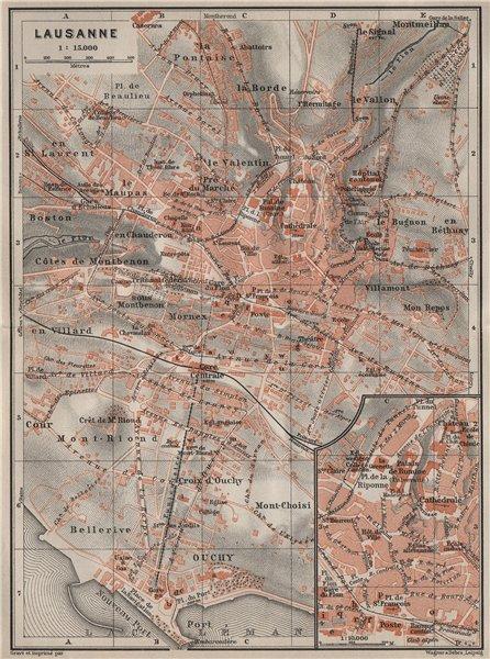 Associate Product LAUSANNE. town city stadtplan. Switzerland Suisse Schweiz carte karte 1909 map