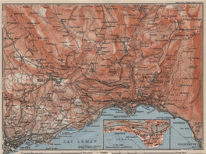 Associate Product MONTREAUX AREA. Vevey Villneuve. Topo-map. Switzerland Suisse Schweiz 1909