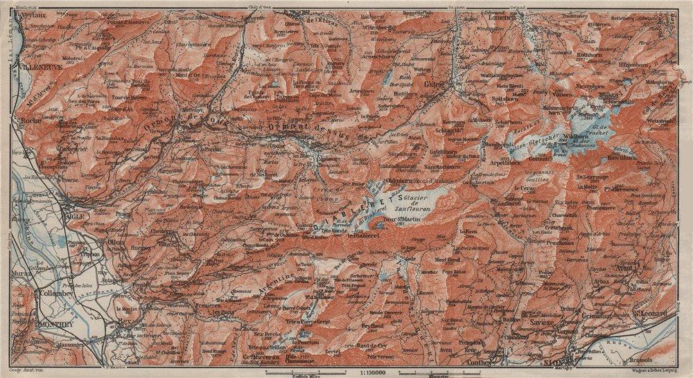 Associate Product AIGLE DISTRICT.Les Diablerets Villars Gryon Leysin Les Mosses Ormont 1909 map