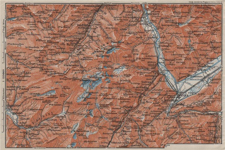 Associate Product VAL D'ILLIEZ/DENT DU MIDI.Champéry Samoëns Avoriaz Morzinette Martigny 1909 map