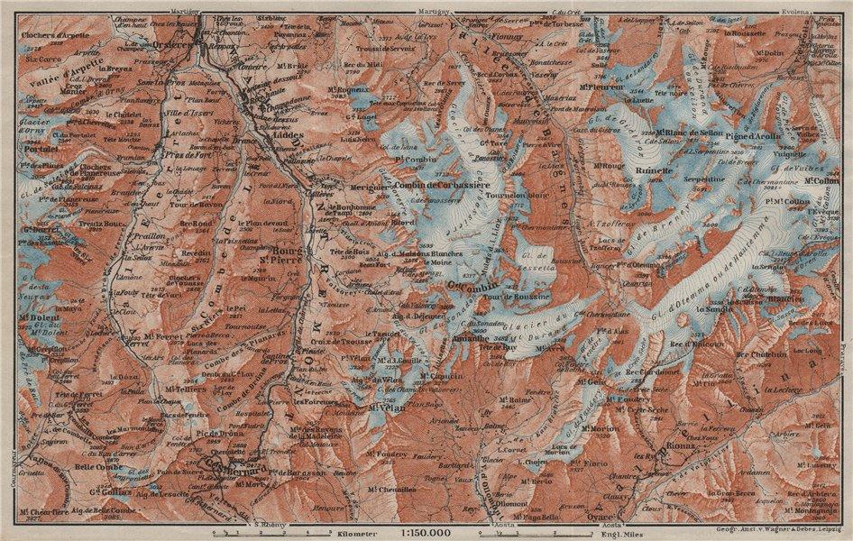 Associate Product GRAND ST BERNARD ENVIRONS Arolla Grand Combin Massif Orsières Mt Velan 1909 map