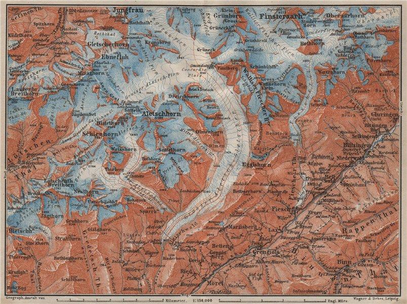 Associate Product ALETSCHHORN DISTRICT. Fiesch Mörel Jungfrau Nesthorn Grengiols 1909 old map