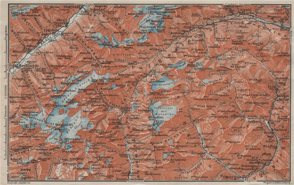 Associate Product GRIES PASS & NW TICINO ALPS. Val Bedretto Airolo Basodino Ofenhorn 1909 map