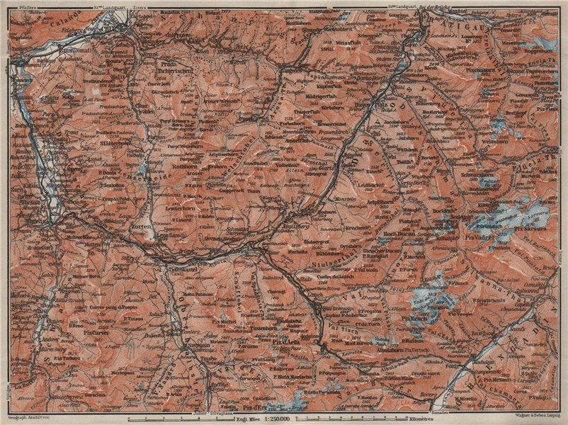 Associate Product GRAUBÜNDEN/ALBULA ALPS. Chur-Samedan. Arosa Lenz Davos Savognin Thusis 1909 map