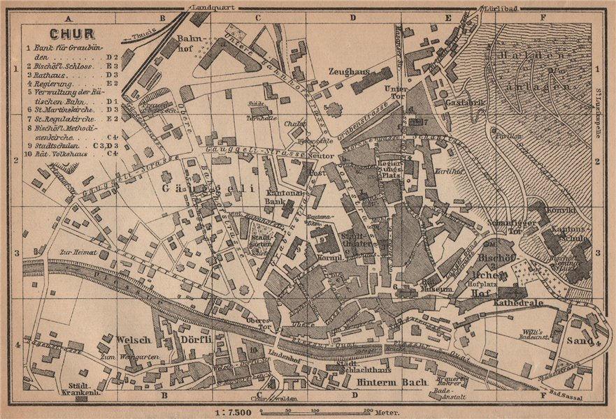 Associate Product COIRE / CHUR. Chur. town city stadtplan. Switzerland Suisse Schweiz 1909 map