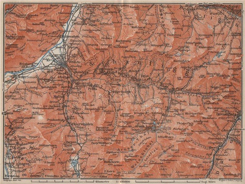 Associate Product COIRE/CHUR SCHANFIGG AROSA ENVIRONS. Davos Klosters Lenzheide Trimnns 1909 map