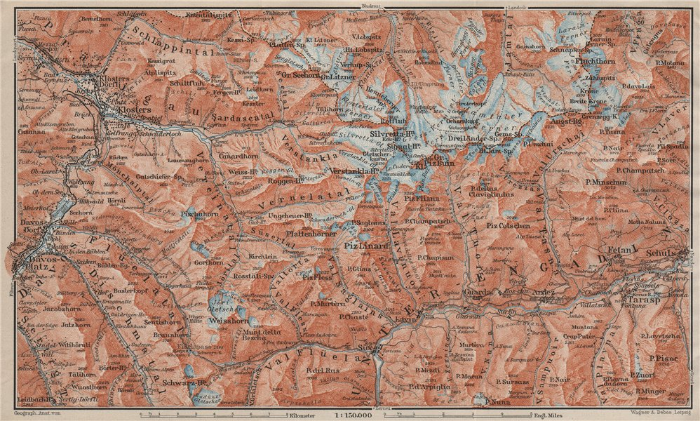 Associate Product SILVRETTA GROUP. Klosters Davos Ftan Scuol Fluchthorn Lower Engadin 1909 map