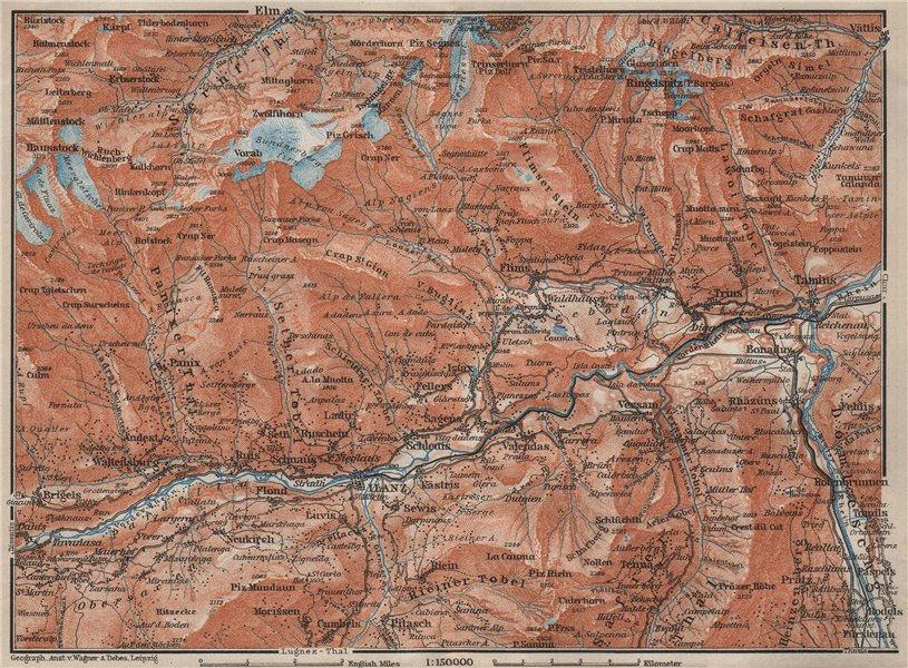 ILANZ & FLIMS AREA. Laax Obersaxen Mundaun Brigels Waltensburg Tamins 1909 map