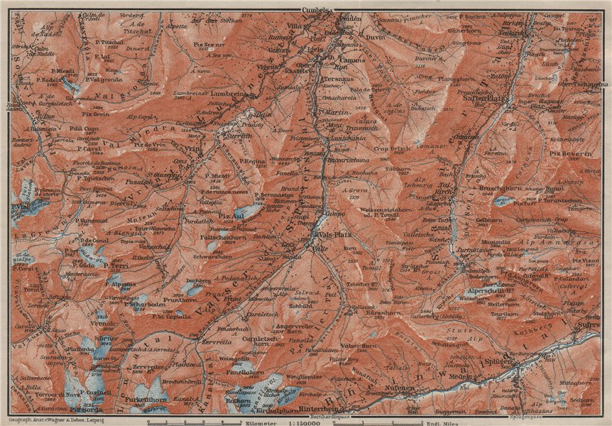 Associate Product LUGNETZTAL SURSELVA. Valserrhein Furketlihorn Hinterrhein Splügen 1909 old map