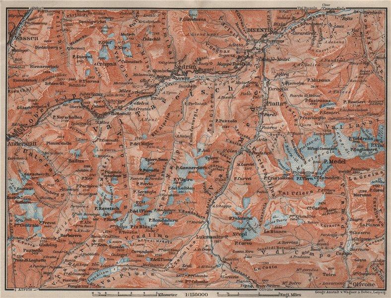 Associate Product VAL TAVETSCH/MEDEL. Andermatt Disentis Sedrun Wassen Piz Medel. Topo-map 1909