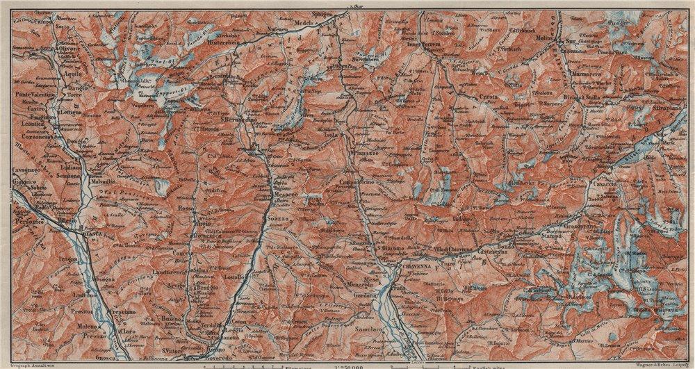 Associate Product LUKMANIER to MALOJA.Sils Maria Bivio Madesimo Chiavenna San Bernardino 1909 map