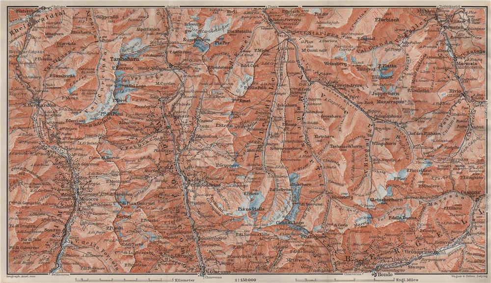 Associate Product SPLÜGEN-BONDO. Madesimo San Bernardino Mesocco Tambohorn Surettahorn 1909 map