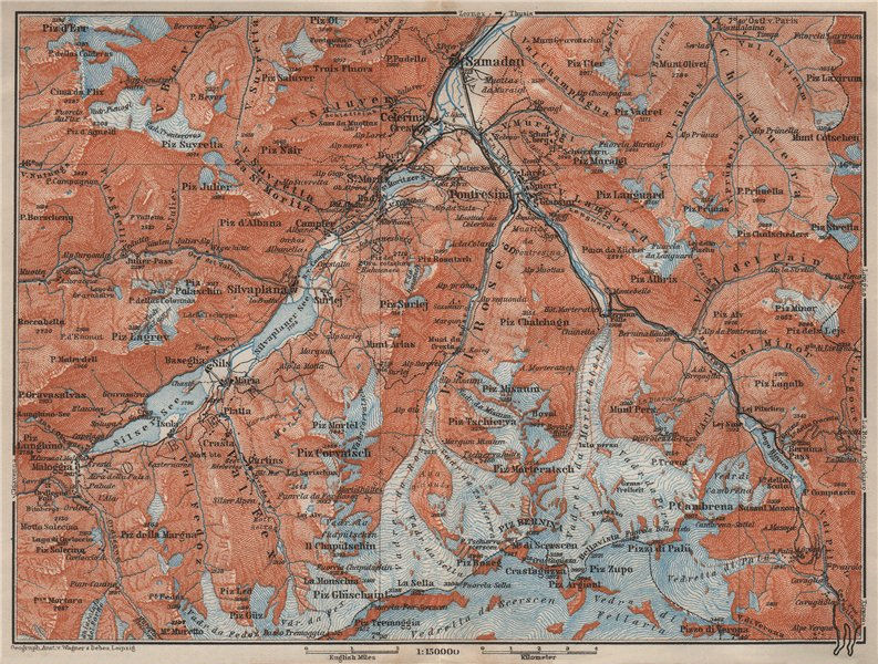 Associate Product UPPER ENGADINE. St Moritz Celerina Pontresina Sils-Maria Bernina Range 1909 map