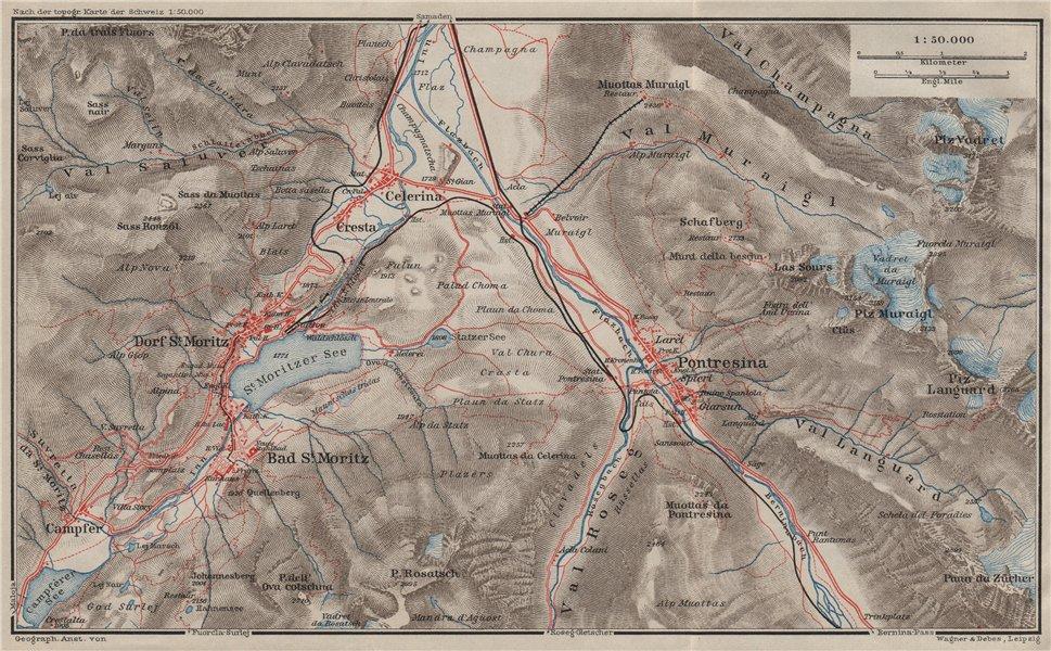 Associate Product ST MORITZ & PONTRESINA. Celerina Cresta Piz Vadret/Muraigl/Languard 1909 map