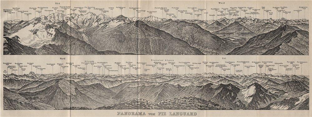 Associate Product PIZ LANGUARD PANORAMA. Bernina Roseg Monte Rosa Mont Blanc Cristallo 1909 map