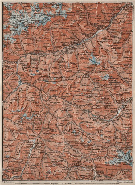 Associate Product LOWER ENGADINE. Livigno Bormio Ftan Scuol Silvretta Range Piz Buin 1909 map