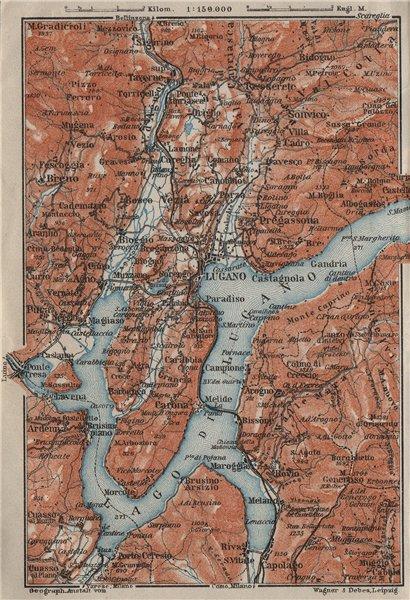 Associate Product LUGANO ENVIRONS. Lake Lago di. Topo-map. Switzerland Suisse Schweiz 1909