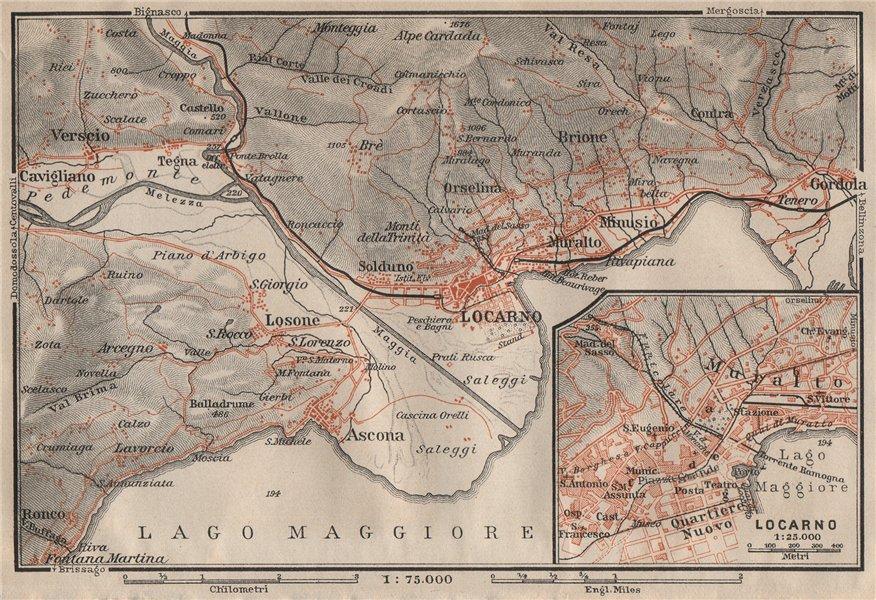 Associate Product LOCARNO area. Losone Gordola Muralto Brione. Switzerland Suisse Schweiz 1909 map