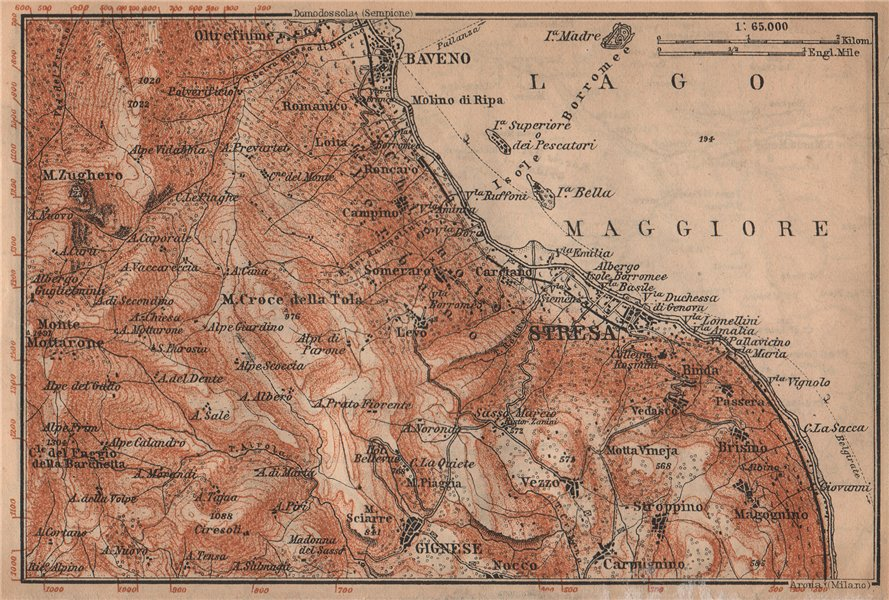 Associate Product STRESA ENVIRONS. Baveno Gignese. Italy mappa. BAEDEKER 1909 old antique