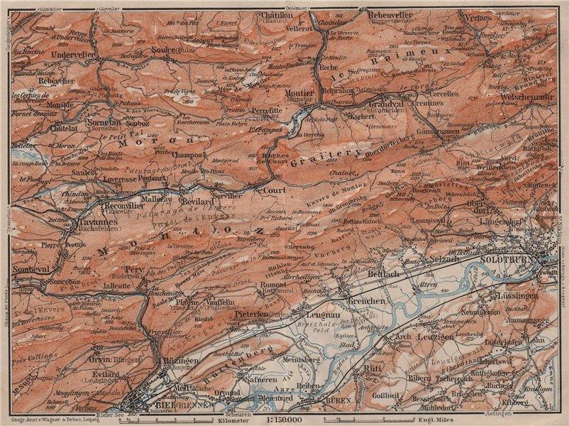 Associate Product BERNESE JURA. Solothurn Biel/Bienne Rebeuvelier Tavannes. Topo-map 1911