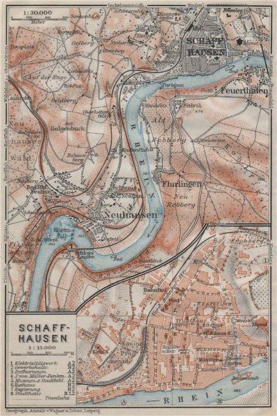 Associate Product SCHAFFHAUSEN environs. Flurlingen Feuerthalen Neuhausen. Schweiz 1911 old map