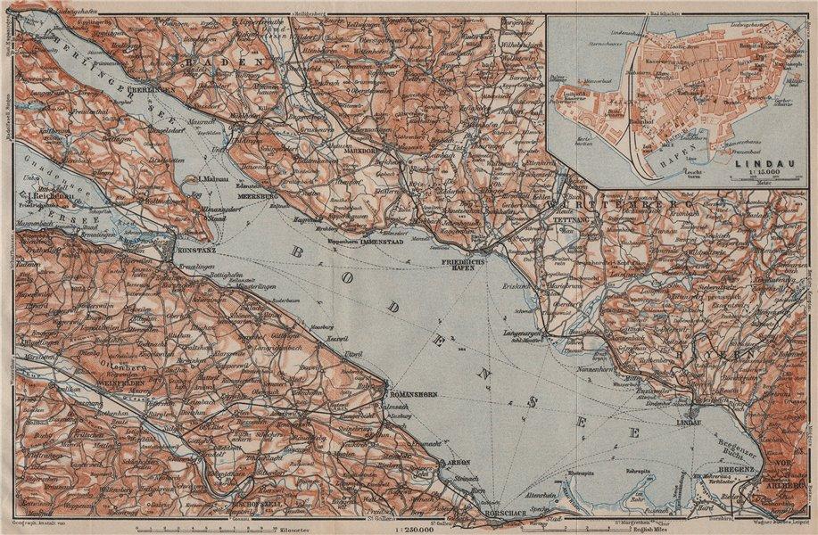 LAKE CONSTANCE inset LINDAU. Konstanz St Gallen Bregenz. Topo-map 1911 old