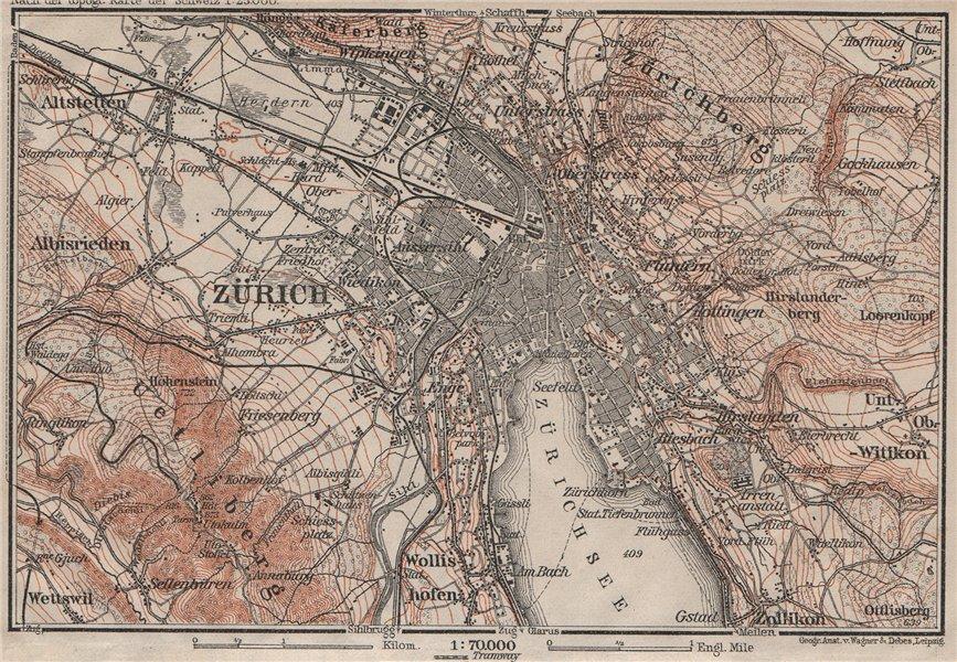 Associate Product ZÜRICH ENVIRONS. Zurich. Switzerland Suisse Schweiz carte karte 1911 old map