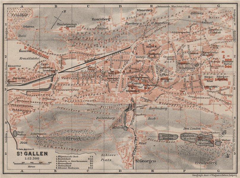 Associate Product ST. GALLEN. town city stadtplan. Switzerland Suisse Schweiz. BAEDEKER 1911 map