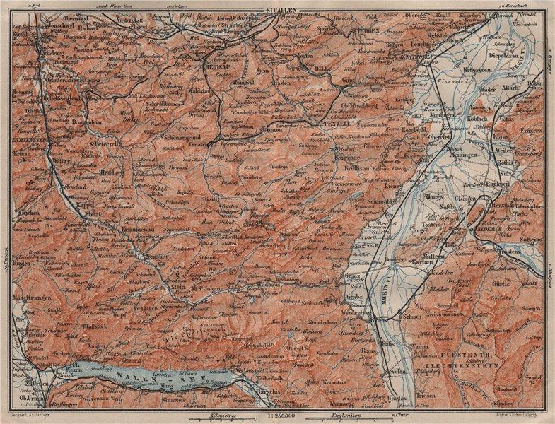 APPENZELL CANTON. Wildhaus Unterwasser St. Gallen Trogen Walensee 1911 old map