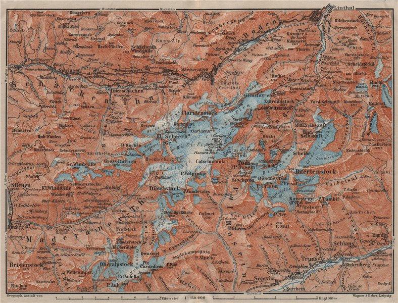 Associate Product TÖDI DISTRICT. Glarus Alps Linththal Bifertenstock Claridenstock 1911 old map