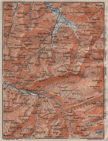 Associate Product MUOTATHAL PRAGEL & SIHLTAL. Silbern Liedernen (Kaiserstock) Iberg 1911 old map