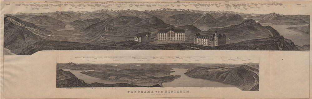 Associate Product PANORAMA from/von RIGIKULM 1800m. Küssnacht. Switzerland Schweiz 1911 old map