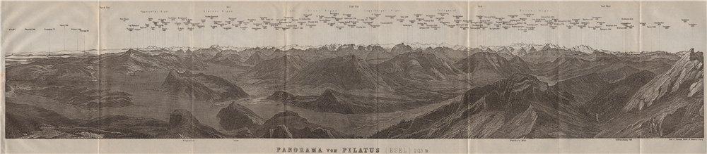 Associate Product PANORAMA from/von PILATUS. Vierwaldstättersee. Lake Lucerne. Schweiz 1911 map