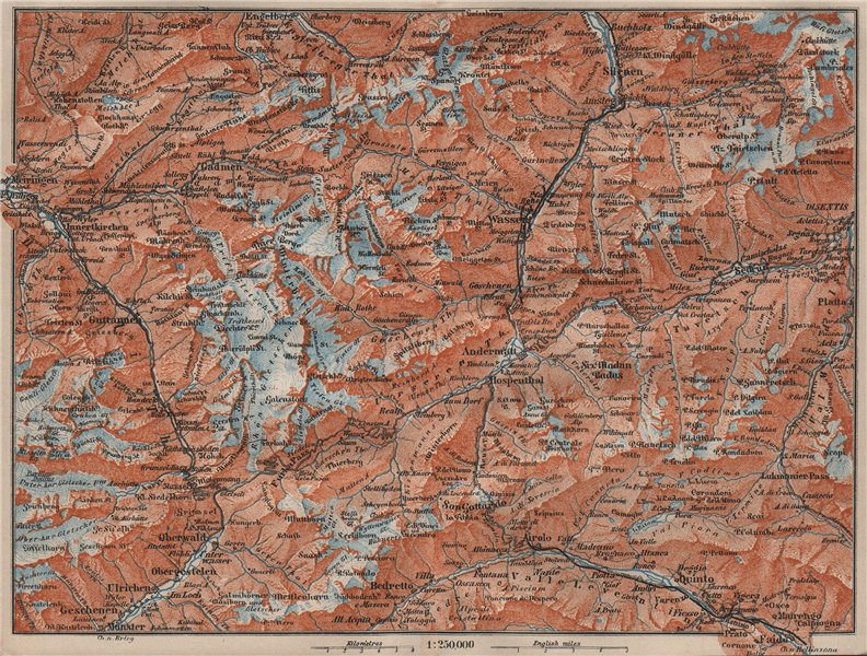 ST GOTTHARD area. Andermatt Engelberg Silenen Gadmen Ulrichen Disentis 1911 map