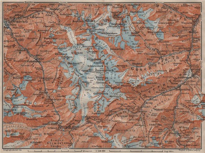 Associate Product URNER/URI ALPS. Trift district. Andermatt Innertkirchen Dammastock 1911 map