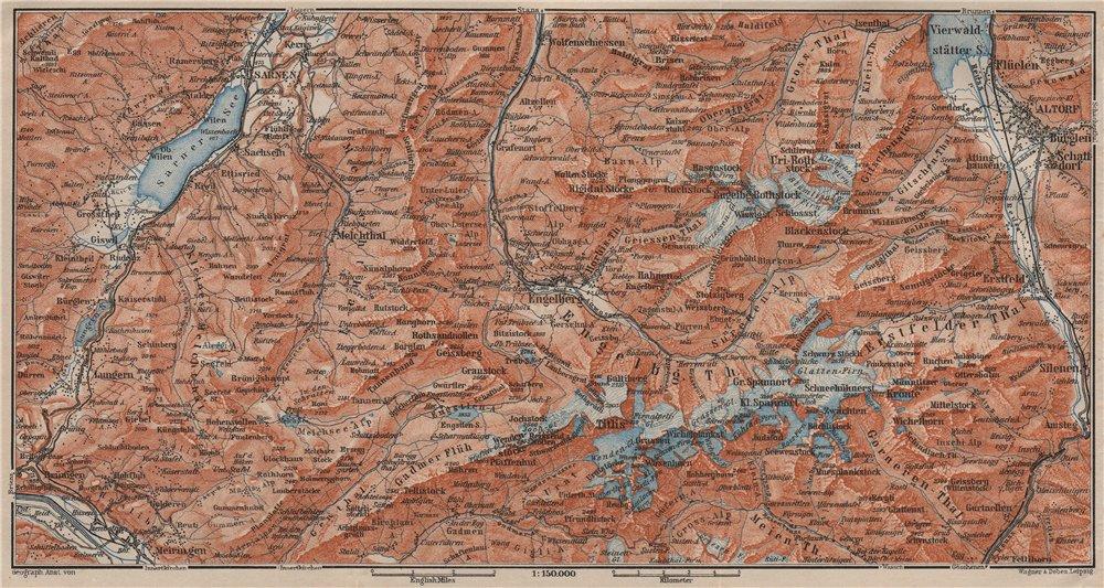 Associate Product ENGELBERG ENVIRONS. Uri/Urner Alps Titlis Blackenstock Sarnen Altorf 1911 map