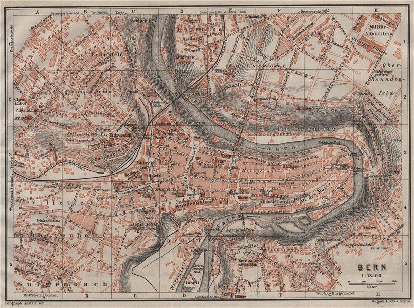 Associate Product BERN BERNE. town city stadtplan. Switzerland Suisse Schweiz. BAEDEKER 1911 map