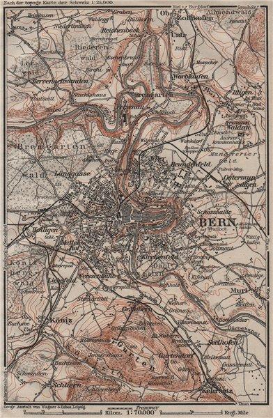Associate Product BERN BERNE ENVIRONS. Switzerland Suisse Schweiz carte karte. BAEDEKER 1911 map