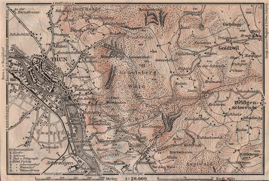 Associate Product THUN ENVIRONS. Goldiwyl. Switzerland Suisse Schweiz carte karte 1911 map