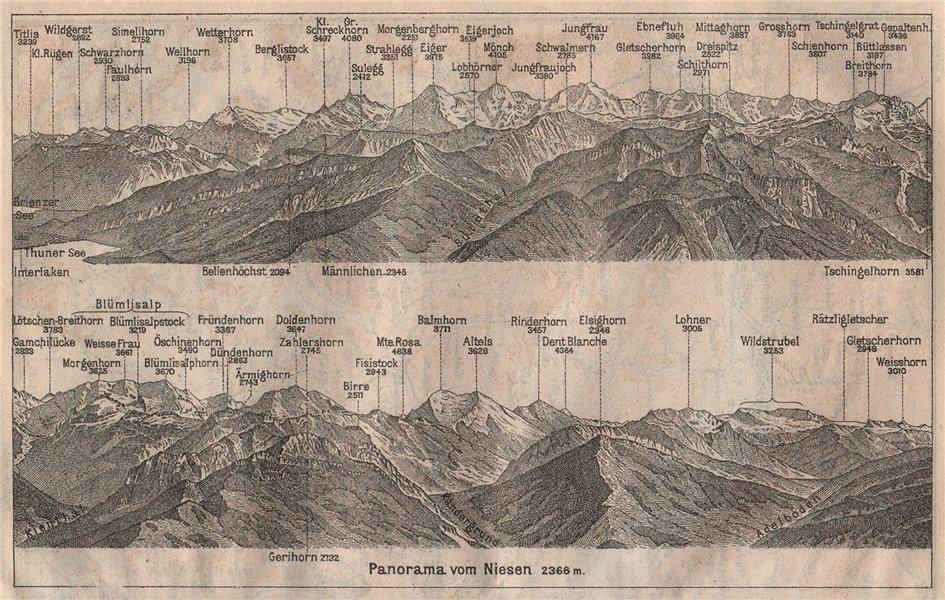 Associate Product PANORAMA from/von NIESEN 2366m. Blumisalp Jungfrau Switzerland Schweiz 1911 map